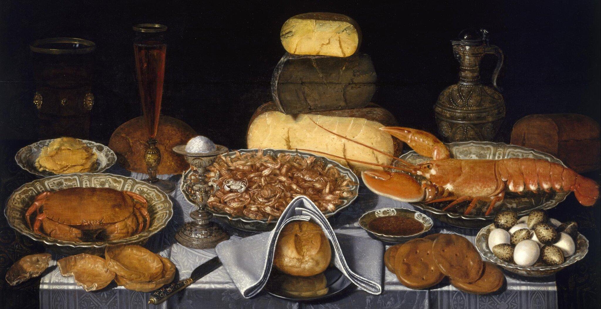 Martwa natura zkrabem, krewetką ihomarem Źródło: Clara Peeters, Martwa natura zkrabem, krewetką ihomarem, 1635–1640, olej na płótnie, domena publiczna.