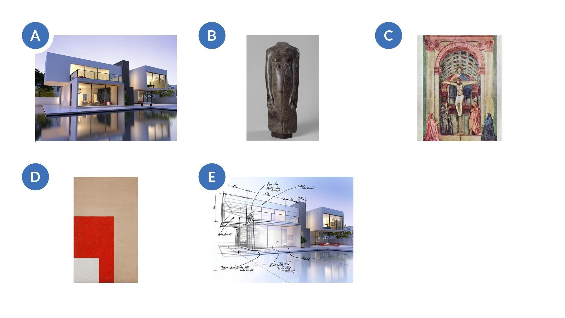"""Pierwsza ilustracja przedstawia trójwymiarową wizję komputerową projektowanego budynku. Na zdjęciu widzimy dom wraz ztarasem. Widoczne są duże oszklone ściany budynku. Jest on wkolorze białym. Przez oszklone ściany widoczne jest urządzone wnętrze domu. Dom ma dwa piętra, ana piętrze znajduje się taras. Druga ilustracja to rzeźba """"Fragment figurki mężczyzny - kapłana"""". Widoczna jest stojąca sylwetka postaci bez głowy. Rzeźba wykonana jest prawdopodobnie zdiorytu. Ręce są ułożone wzdłuż tułowia. Trzecia ilustracja to obraz Masaccio """"Święta Trójca"""". Wcentralnym punkcie znajduje się ukrzyżowany Chrystus. Nad nim góruje postać Boga Ojca, apomiędzy nimi wpostaci gołębicy, Duch Święty. Po obu bokach krzyża stoi Maria iśw. Jan. Scena jest oddzielona wysokim progiem irzymskim łukiem triumfalnym. Głębie pomieszczenia akcentują dwie dodatkowe postacie klęczące przed bocznymi kolumnami. Czwarta to obraz Władysława Strzemińskiego pt. """"Kompozycja architektoniczna 9c"""". Na obrazie wtle widzimy jasnobrązowy prostokąt. Wlewym dolnym rogu widzimy fragment czerwonego prostokąta. Natomiast na czerwonym prostokącie widzimy biały kwadrat. Piąta ilustracja to rysunek architekta. Widzimy na nim wizualizację domu wraz ztarasem. Część ilustracji jest wformie rysunkowej, natomiast część wformie komputerowej. Na części rysunkowej zaznaczone zostały również wymiary elementów."""