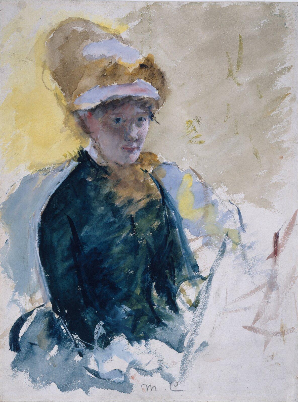 """Ilustracja przedstawia obraz Mary Cassatt pt. """"Autoportret"""". Na obrazie widoczna jest kobieca postać wkapeluszu isukni. Wdziele przeważają odcienie zielonego oraz żółci przypominającej światło słoneczne, które przelewa się przez ramiona artystki irzuca na jej twarz wcień."""