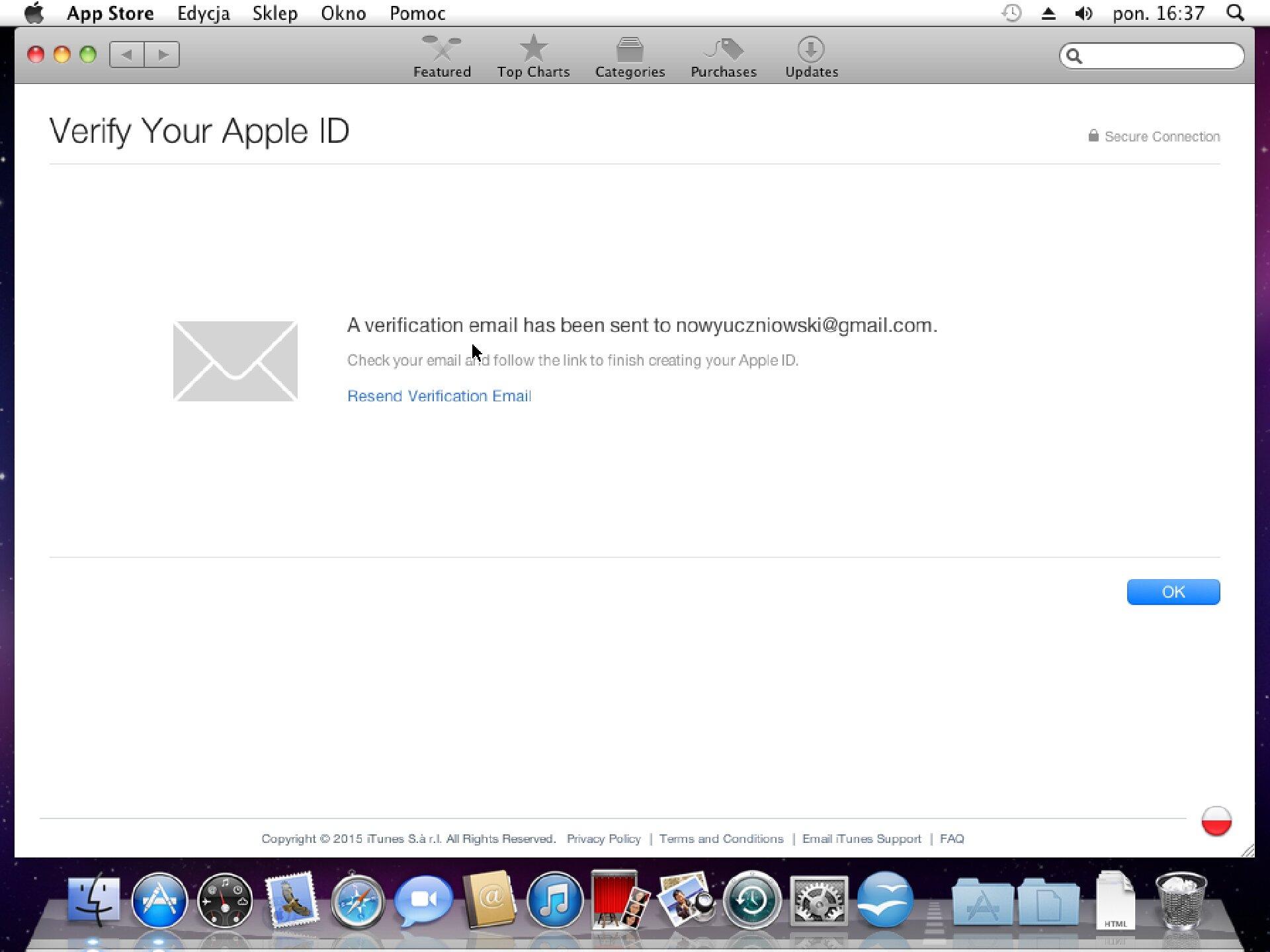 Zrzut okna 4 procesu zakładania konta wApp Store