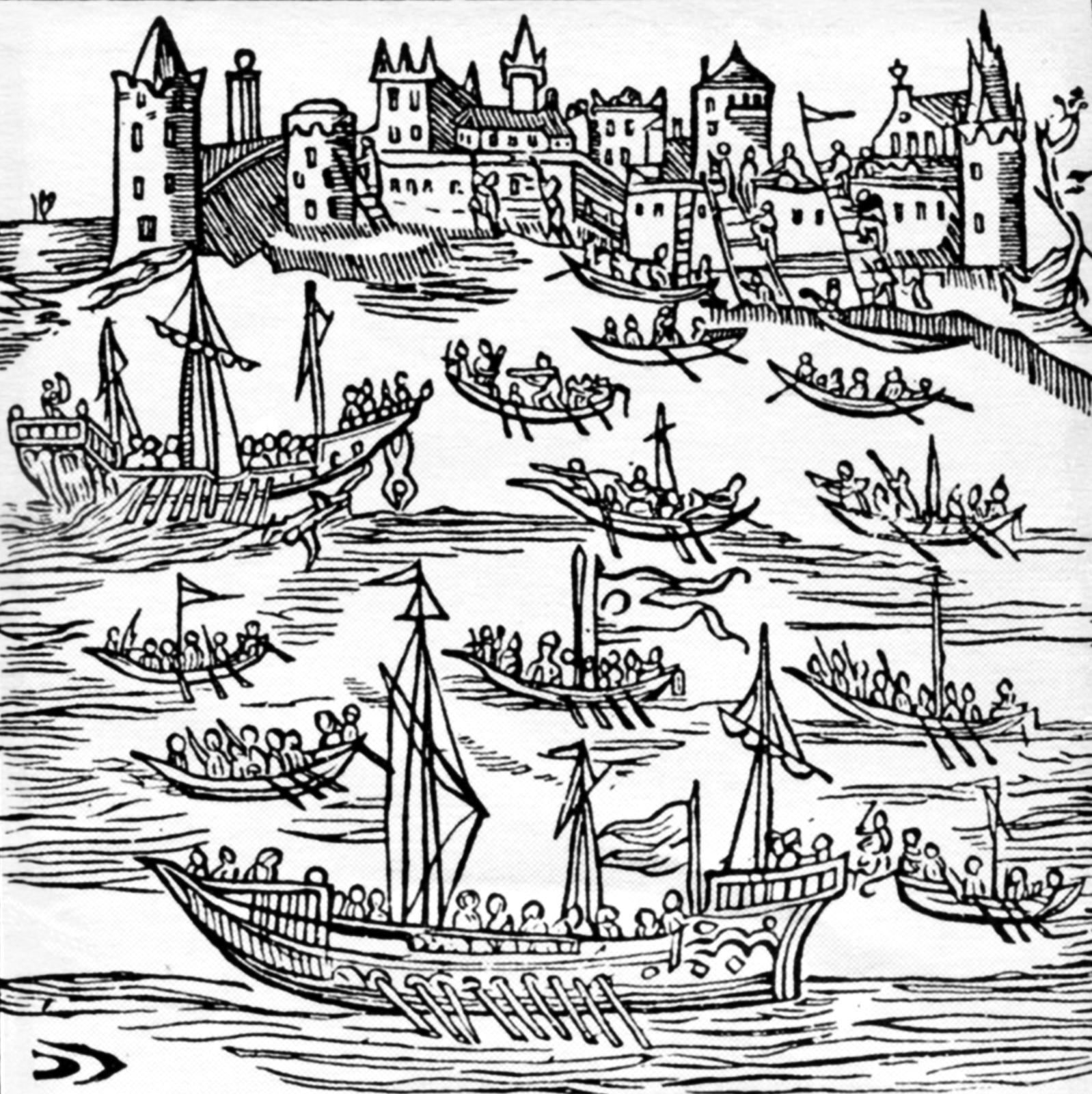 Atak Kozaków na czajkach na turecki port na Krymie - Kaffę. Był towielki ośrodek handlu niewolnikami pochodzącymi znajeżdżanych przez Tatarów ziem chrześcijańskich. Na rycinie widać atak wojsk kozackich pod dowództwem Piotra Konaszewicza-Sahajdacznego w1616 r. Atak Kozaków na czajkach na turecki port na Krymie - Kaffę. Był towielki ośrodek handlu niewolnikami pochodzącymi znajeżdżanych przez Tatarów ziem chrześcijańskich. Na rycinie widać atak wojsk kozackich pod dowództwem Piotra Konaszewicza-Sahajdacznego w1616 r. Źródło: 1622, rycina, domena publiczna.