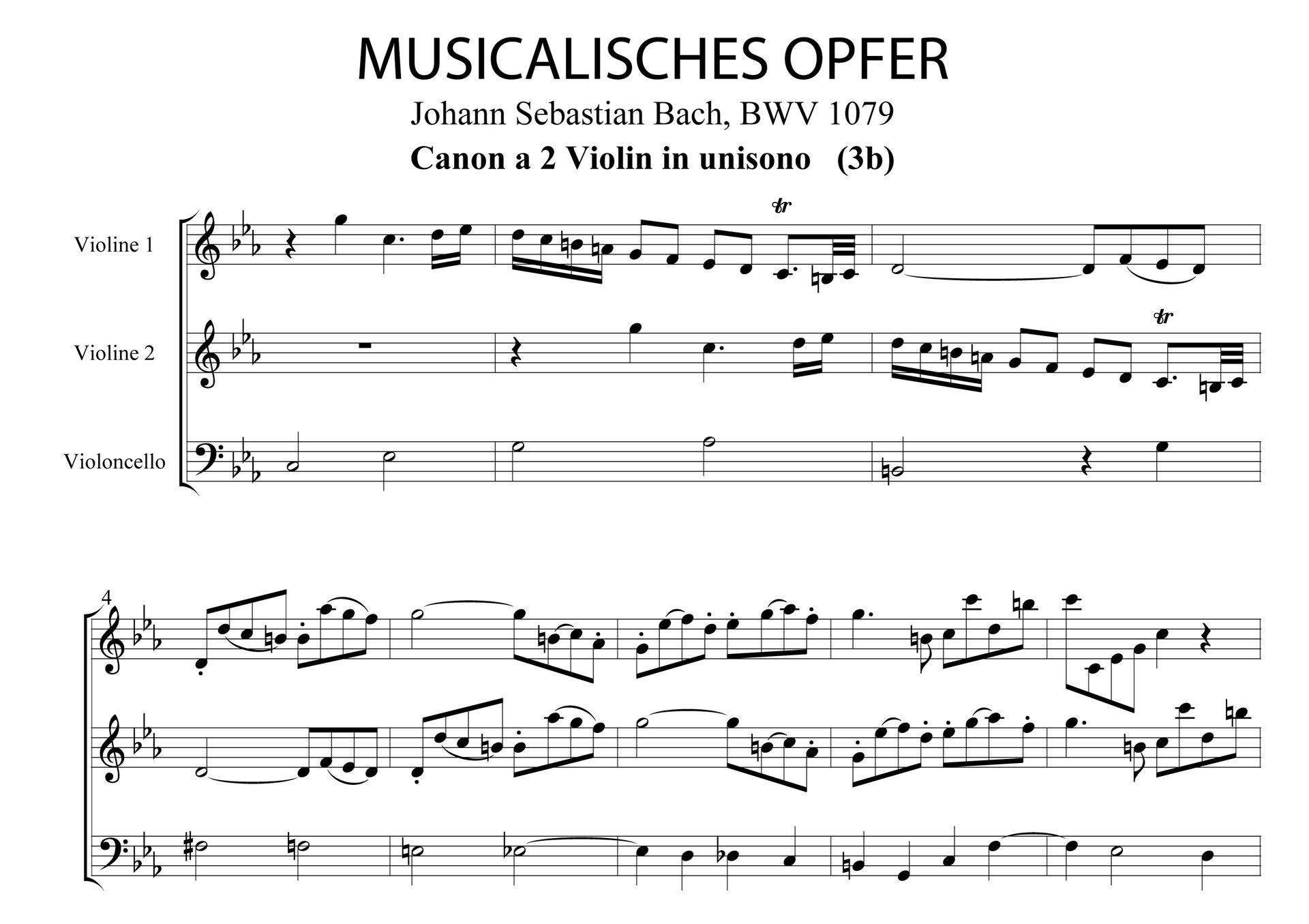 """Ilustracja przedstawia zapis nut utworu """"Musikalisches Opfer"""", Canon a2 Violin in unisono, takty 1, autorstwa: Jana Sebastiana Bacha."""