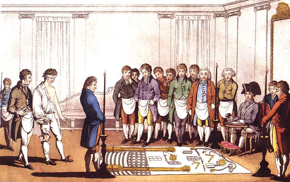 Grafika przestawiająca rytuał przyjmowania kandydata do lożymasońskiej – sądząc po strojach miało to miejsce wAnglii wXVIII w. Grafika przestawiająca rytuał przyjmowania kandydata do lożymasońskiej – sądząc po strojach miało to miejsce wAnglii wXVIII w. Źródło: Liberal Freemason, ok. 1805, domena publiczna.