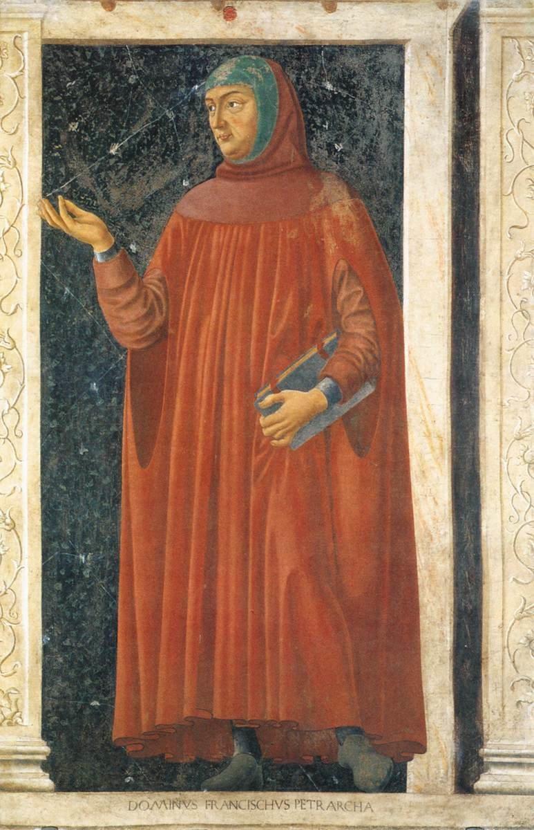 Francesco Petrarca (czytaj: Franczesko Petrarka) był jednym zpierwszych humanistów Francesco Petrarca (czytaj: Franczesko Petrarka) był jednym zpierwszych humanistów Źródło: Andrea del Castagno, ok. 1450, fresk na drewnie, domena publiczna.