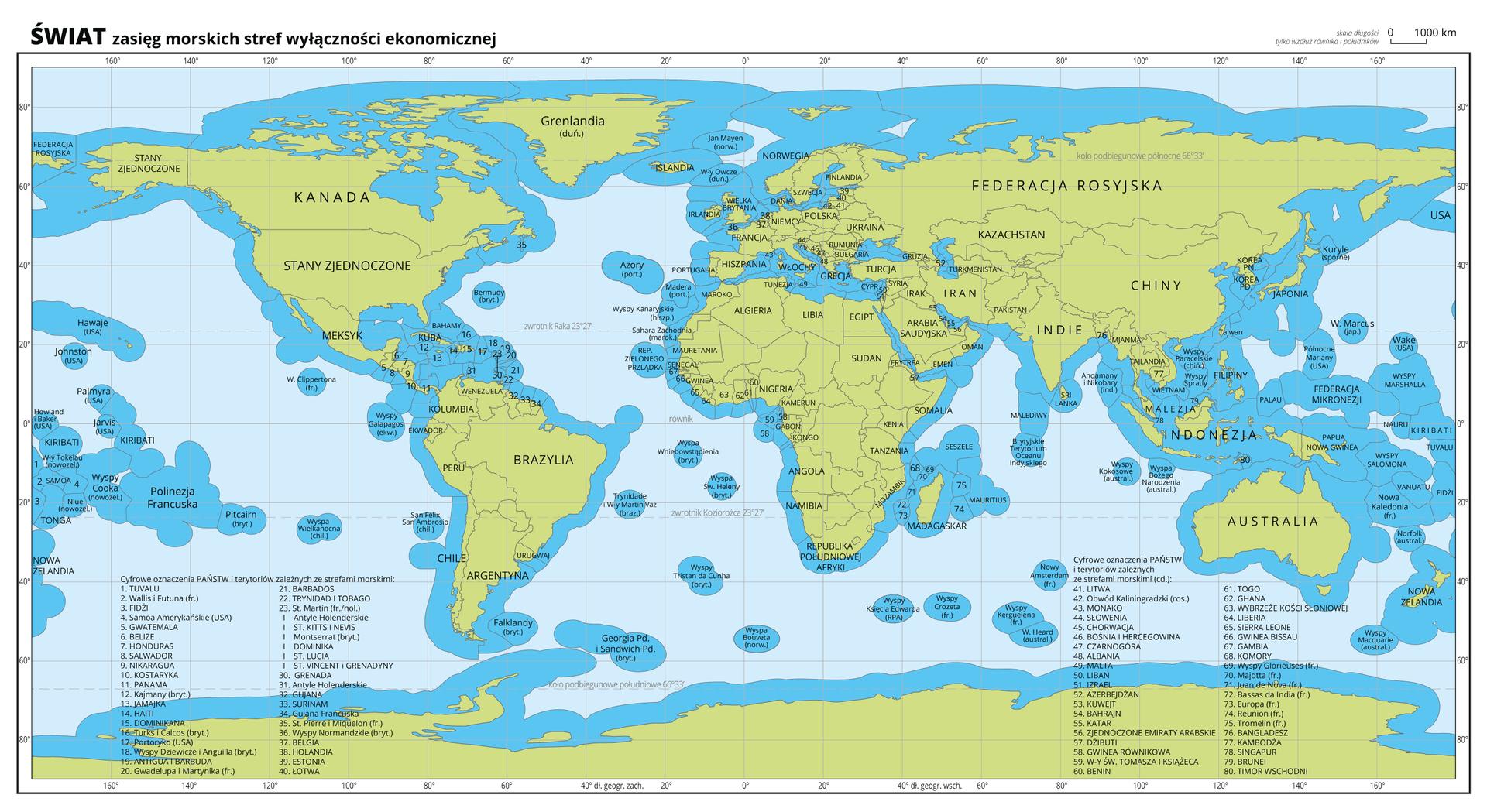 Ilustracja przedstawia mapę świata. Wody zaznaczono kolorem niebieskim, lądy zielonym. Opisano państwa.Na mapie kolorem mocno niebieskim oznaczono zasięg morskich stref wyłączności ekonomicznej. Jest to niebieska wstążka ogrubości około pół centymetra przebiegająca wzdłuż wybrzeży kontynentów iwysp.Nazwy osiemdziesięciu państw iterytoriów zależnych, które nie zmieściły się na mapie przedstawiono za pomocą liczb. Cyfrowe oznaczenia opisano na dole mapy.Mapa pokryta jest równoleżnikami ipołudnikami. Dookoła mapy wbiałej ramce opisano współrzędne geograficzne co dwadzieścia stopni.