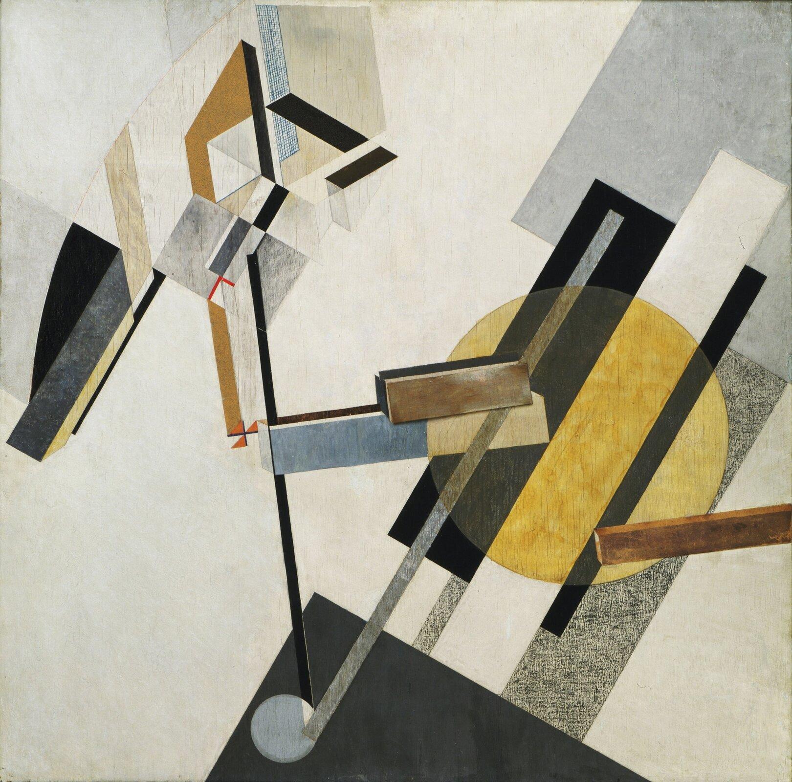 """Ilustracja przedstawia obraz Ela Lissitzky'ego pt. """"Proun 19D"""". Ukazuje on różne, kolorowe geometryczne kształty."""