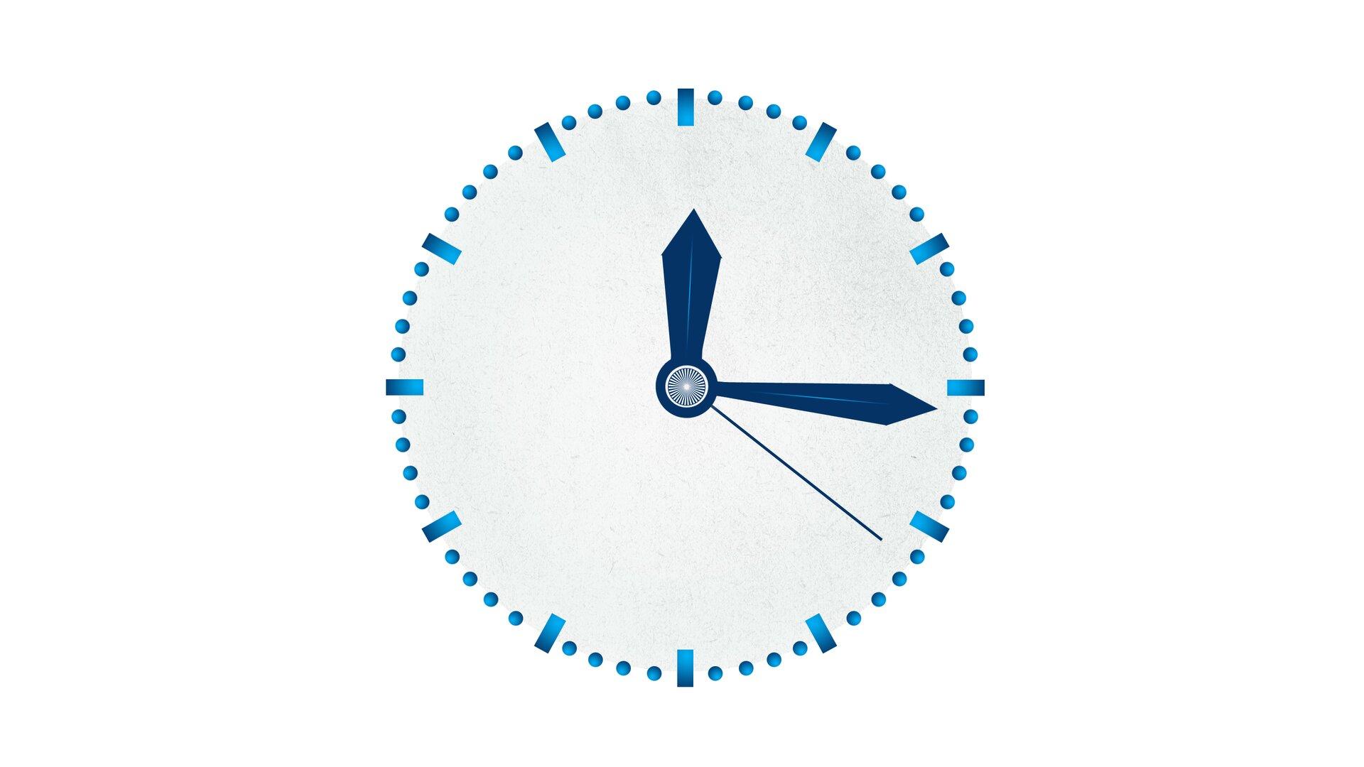 Rysunek zegara, którego wskazówki wskazują godzinę dwunastą szesnaście idwadzieścia jeden sekund.