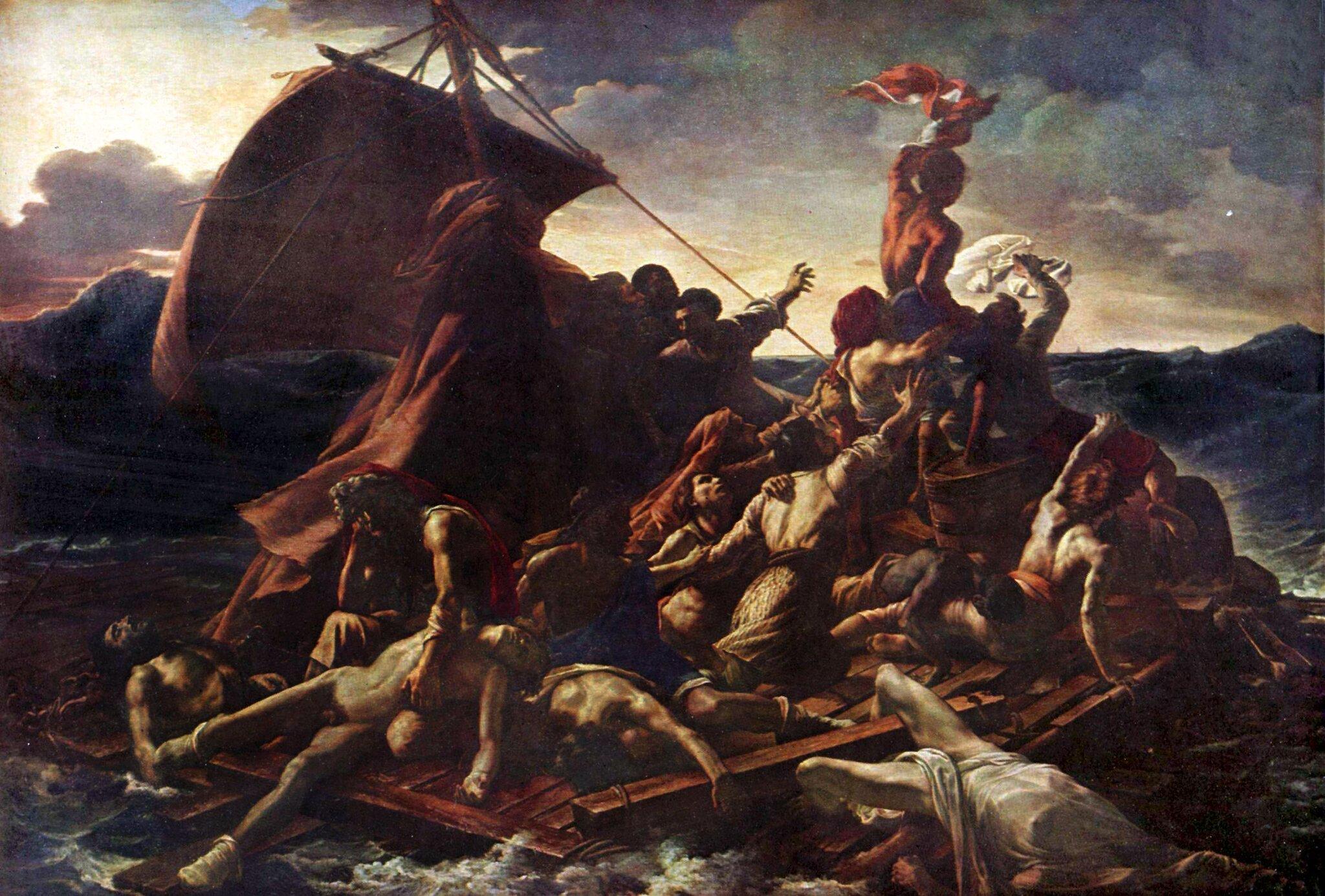 """Tratwa """"Meduzy""""  Źródło: Théodore Géricault, Tratwa """"Meduzy"""", 1818–1819, olej na płótnie, Musée du Louvre, Paryż, domena publiczna."""