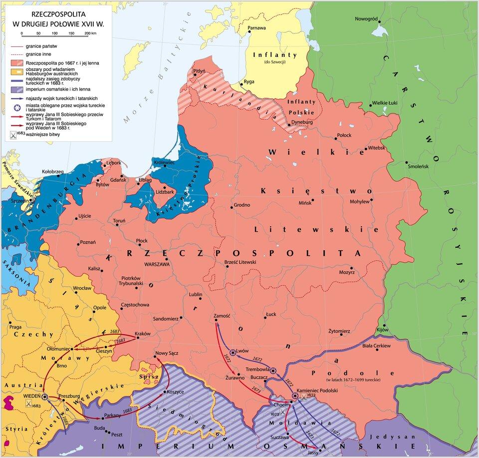 Mapa Rzeczpospolitej wdrugiej połowie XVII wieku.