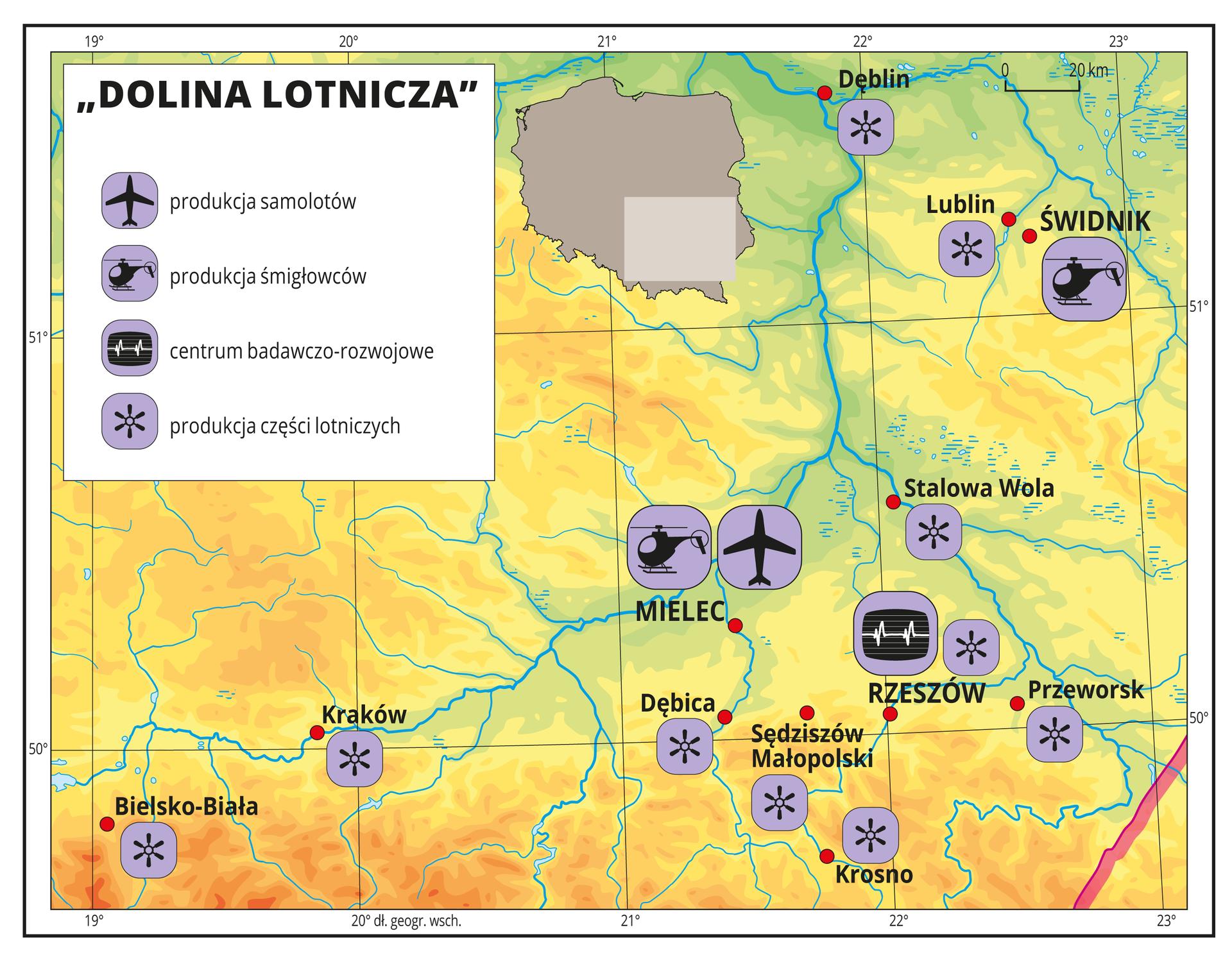 INa ilustracji przedstawiono dolinę lotniczą zlokalizowaną wpołudniowo-wschodniej Polsce wrejonie Rzeszowa. Na mapie za pomocą sygnatur przedstawiono koncentrację firm przemysłu lotniczego oraz centrum badawczo-rozwojowe. WMielcu jest fabryka samolotów iśmigłowców, awŚwidniku fabryka śmigłowców. Na mapie przedstawiono również dziesięć miast, wktórych występuje produkcja komponentów lotniczych.Mapa pokryta jest równoleżnikami ipołudnikami. Dookoła mapy wbiałej ramce opisano współrzędne geograficzne co jeden stopień.W legendzie mapy objaśniono znaki użyte na mapie: produkcja samolotów, produkcja śmigłowców, produkcja komponentów lotniczych, centrum badawczo-rozwojowe.