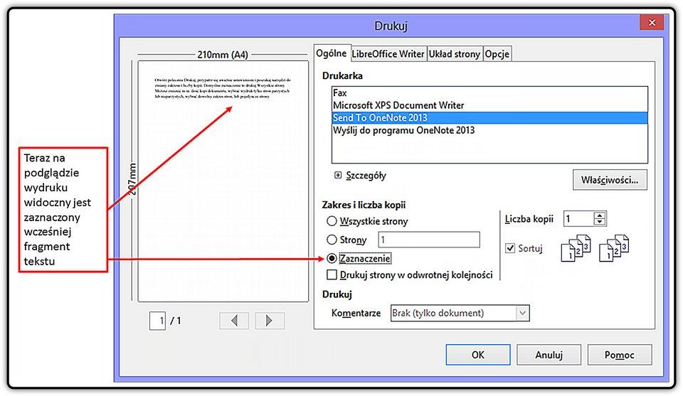 Slajd 3 galerii: Drukowanie fragmentu dokumentu wprogramie LibreOffice Writer