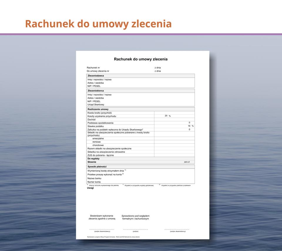 Grafika przedstawia rachunek do umowy zlecenia