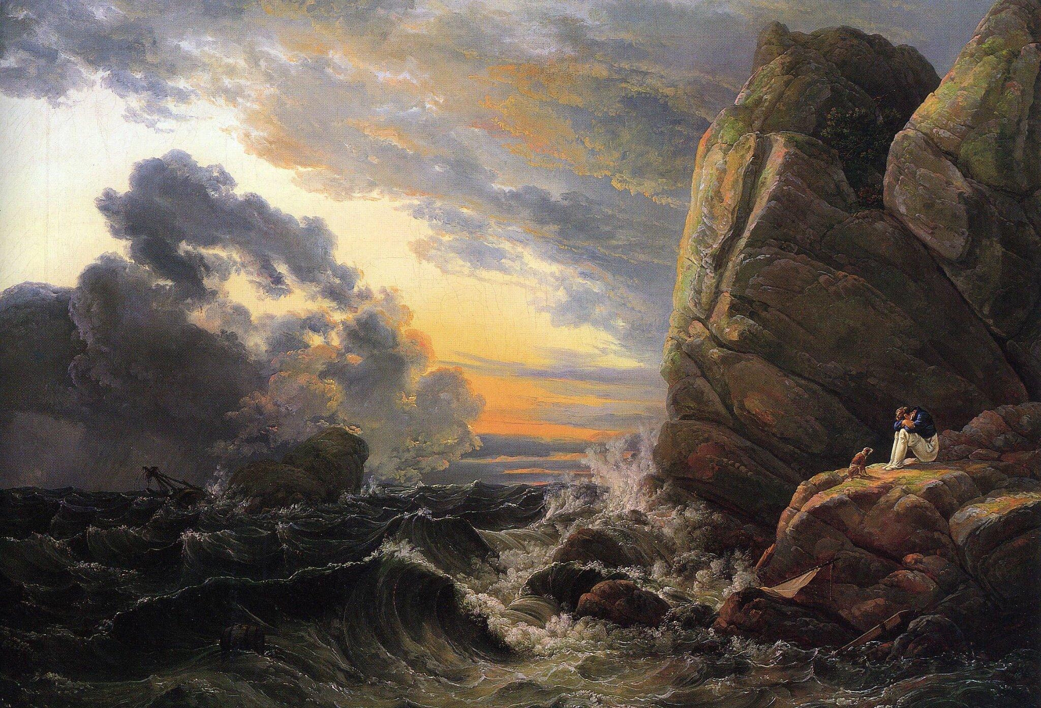 Poranek po nocnej burzy Źródło: Johan Christian Dahl, Poranek po nocnej burzy, 1819, olej na płótnie, Neue Pinakothek, Monachium, domena publiczna.