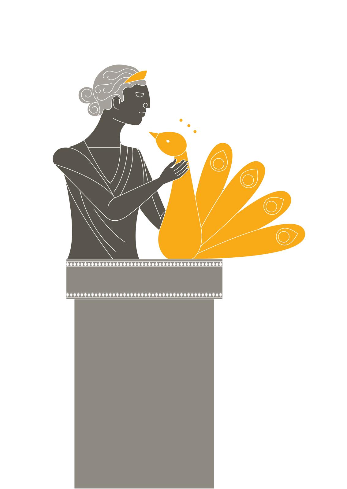 Żona Zeusa, Hera, opiekowała się małżeństwami, rodziną iogniskiem domowym. Jej ulubionym ptakiem był paw Żona Zeusa, Hera, opiekowała się małżeństwami, rodziną iogniskiem domowym. Jej ulubionym ptakiem był paw Źródło: Contentplus.pl sp. zo.o., licencja: CC BY 3.0.