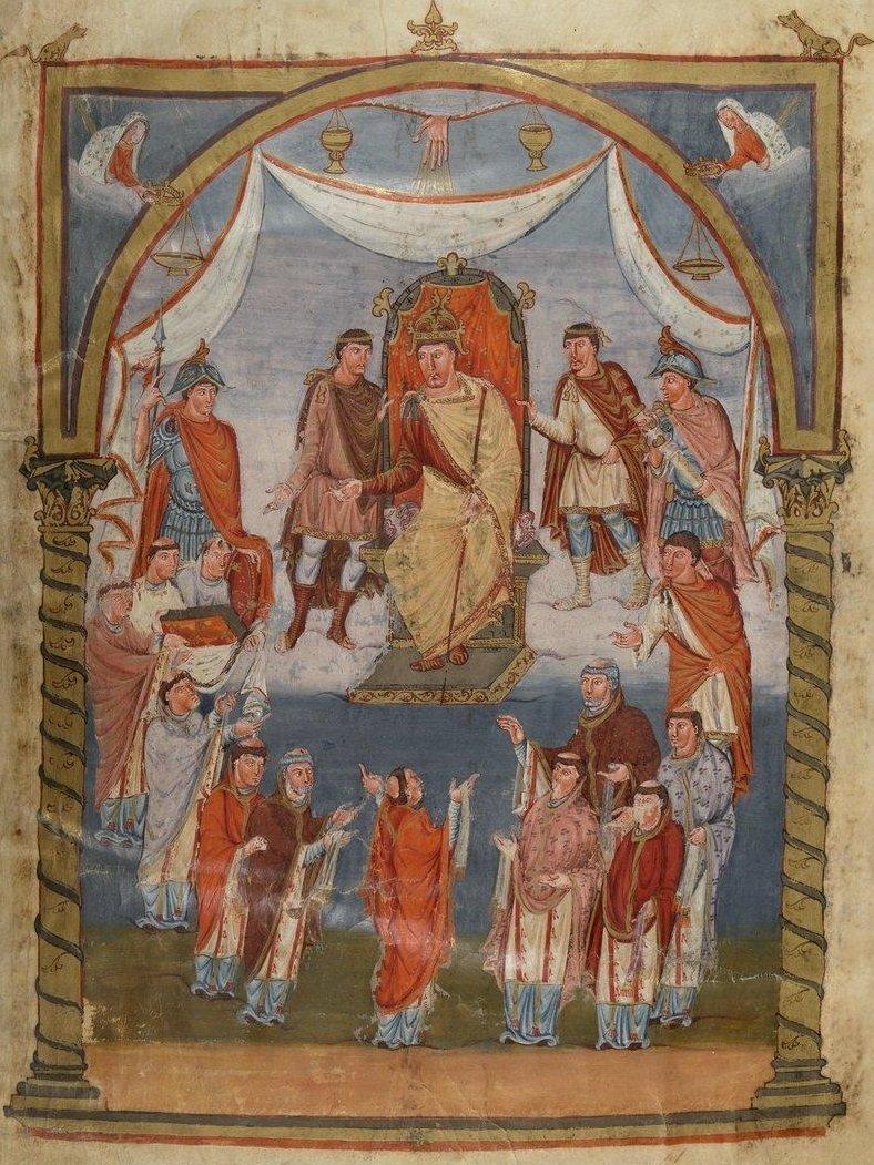 Miniatura przedstawiająca tronującego karolińskiego cesarza Karola Łysego Źródło: Miniatura przedstawiająca tronującego karolińskiego cesarza Karola Łysego, Biblioteka Narodowa wParyżu, licencja: CC 0.