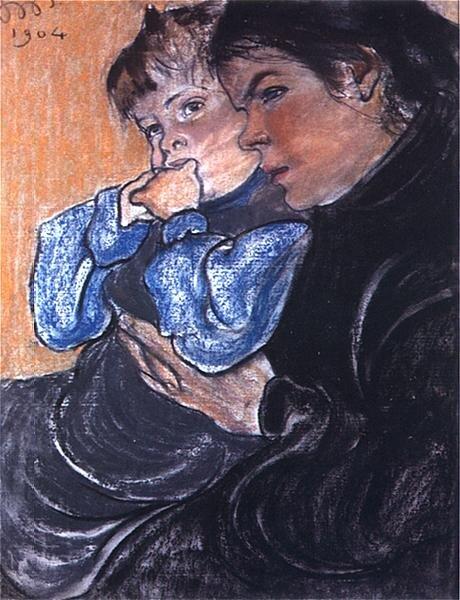 Żona artysty zsynkiem Stasiem Źródło: Stanisław Wyspiański, Żona artysty zsynkiem Stasiem, 1904, pastel na papierze, Muzeum Górnośląskie wBytomiu, domena publiczna.