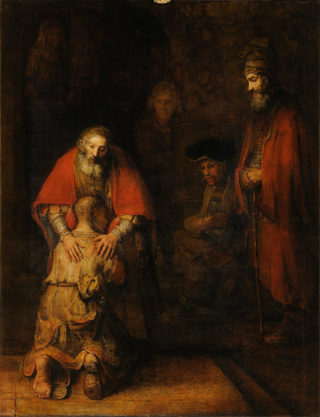 """Ilustracja przedstawia dzieło Rembrandta pt. """"Powrót Syna Marnotrawnego"""". Obraz jest realistyczny, ale pełen głębi psychologicznej, tajemniczości iduchowości. Prezentuje mistrzowskie operowanie światłem oraz półcieniem. Na pierwszym planie znajdują się postacie marnotrawnego syna iojca. Na nogach syna widoczne są rozpadające się chodaki, ukazujące poranione stopy, abrudne ubranie jest wstrzępach. Postać ojca wyraża wybaczenie iulgę zpowrotu już opłakiwanego syna. Jedną zpostaci drugiego planu jest wierny syn, który pozostał zojcem wdomu. Jest on bogato ubrany, ajego twarz wyraża zdziwienie."""