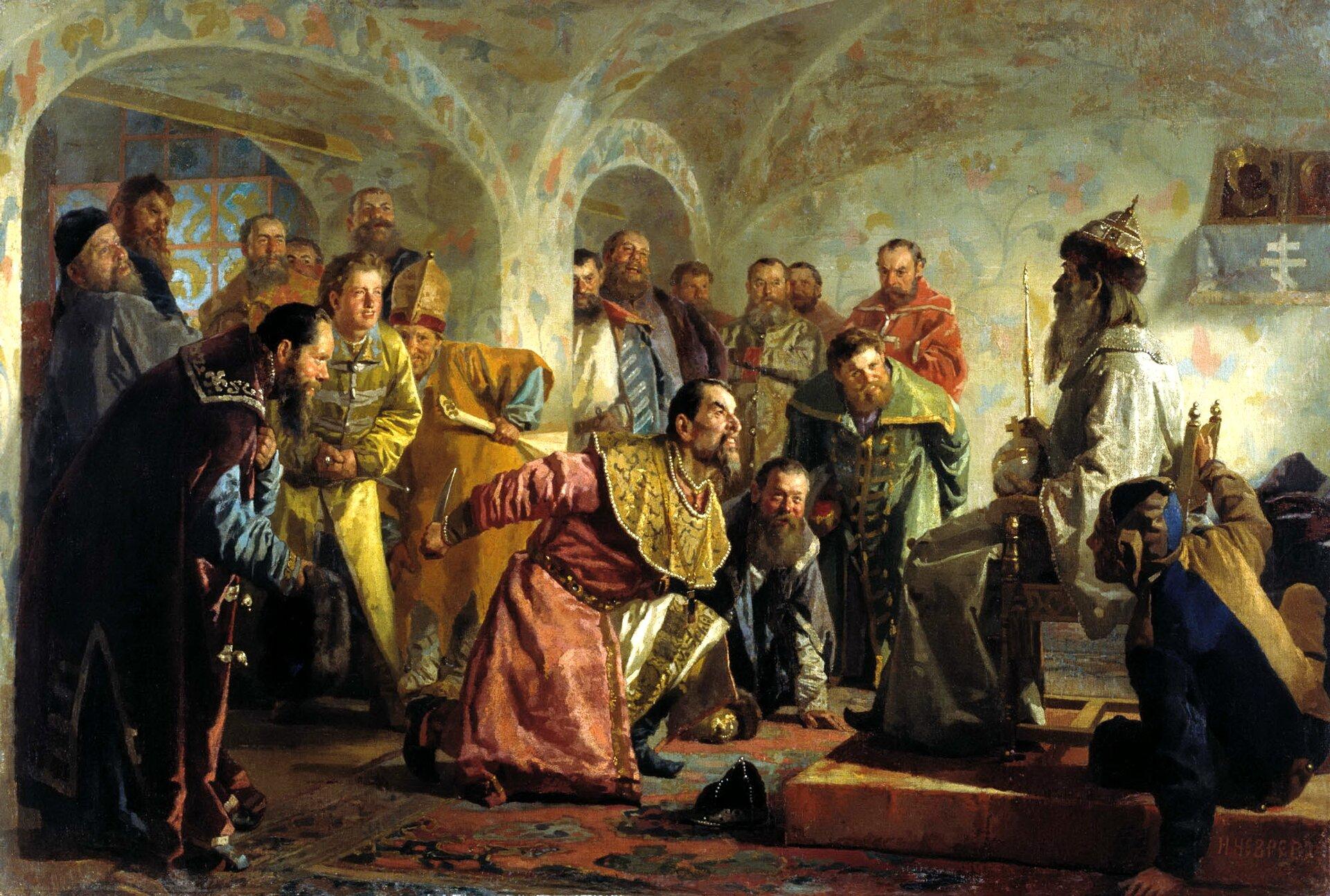 Oprycznina Źródło: Nikolai Vasilyevich Nevrev, Oprycznina, ok. 1870, olej na płótnie, domena publiczna.