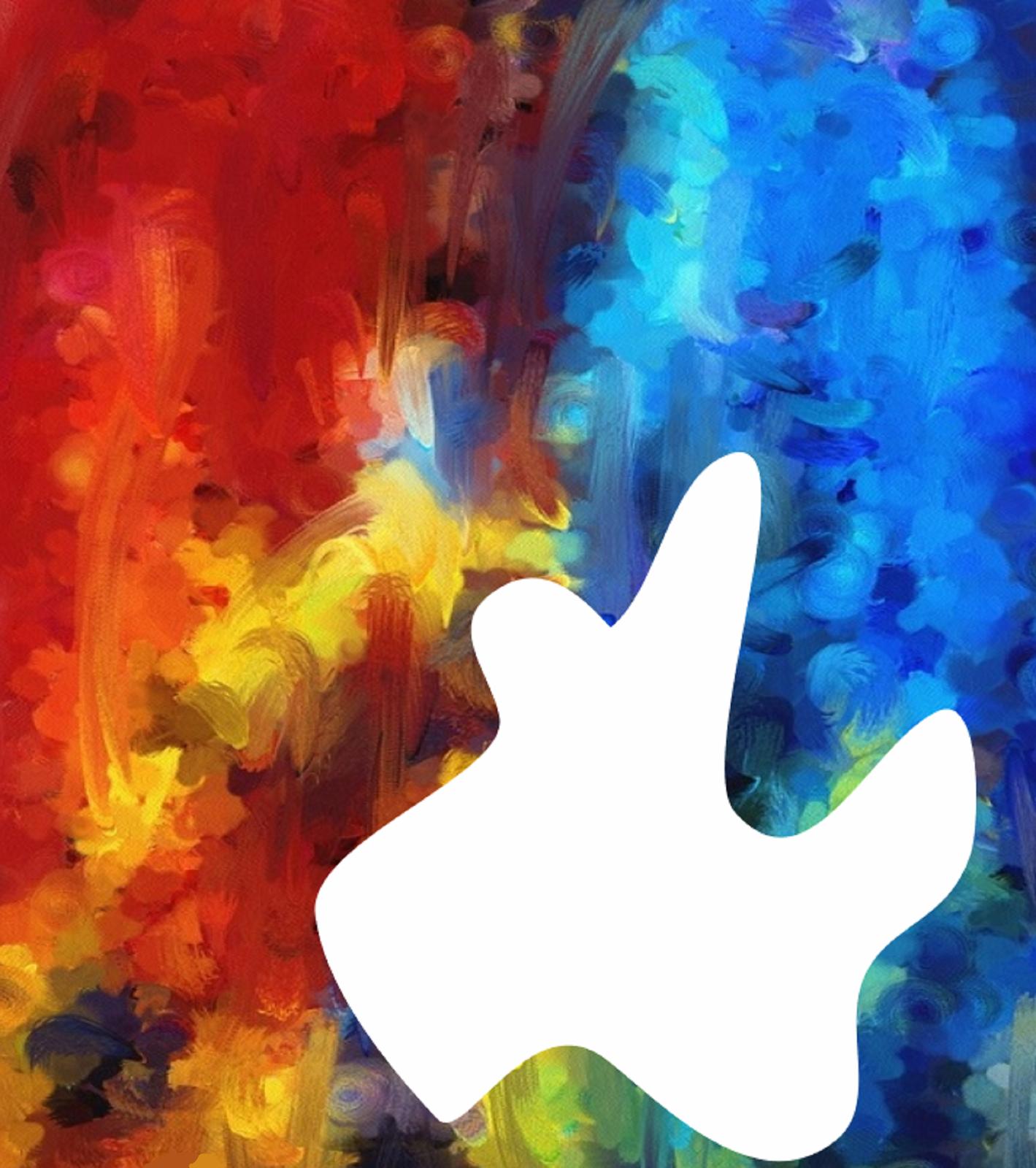 Ilustracja przedstawia abstrakcyjną pracę opartą na wykorzystaniu plamy barwnej. Ukazuje nasycone plamy wodcieniach czerwieni, błękitu iżółtego. Udołu znajduje się biała plama onieregularnych kształtach, będąca luką wobrazie .