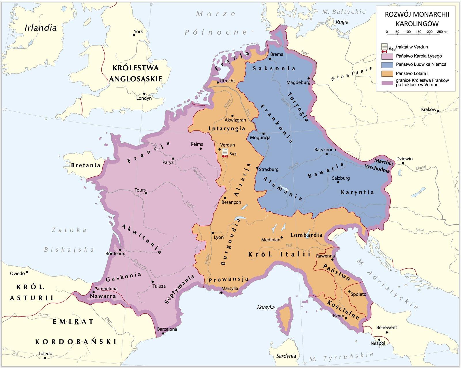 mapamonarchiikarolingów po traktacie zVerdun