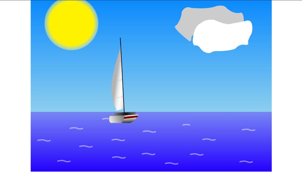 Krótki film animowany przedstawia płynącą ioddalającą się żaglówkę. Dzień. Powierzchnia wody gładka. Żółte słońce wlewym górnym rogu ekranu. Niebo niebieskie. Białe chmurki przesuwają się zlewej strony ekranu na prawą. Żaglówka rozpoczyna rejs wlewym dolnym rogu ekranu. Biała żaglówka ztrójkątnym białym żaglem oddala się od obserwatora, zmierzając wgłąb ekranu. Na początku rejsu żaglówka jest widoczna wcałości. Im bardziej zbliża się do horyzontu, tym staje się mniej widoczna, aż wkońcu znika za linią horyzontu. Widoczna część żaglówki to maszt zżaglem, który znika pionowo wdół. Najpierw widoczny jest cały maszt zżaglem. Stopniowo kolejne części masztu iżagla znikają za linią horyzontu, najpierw dolne, potem górne, ana końcu czubek masztu.