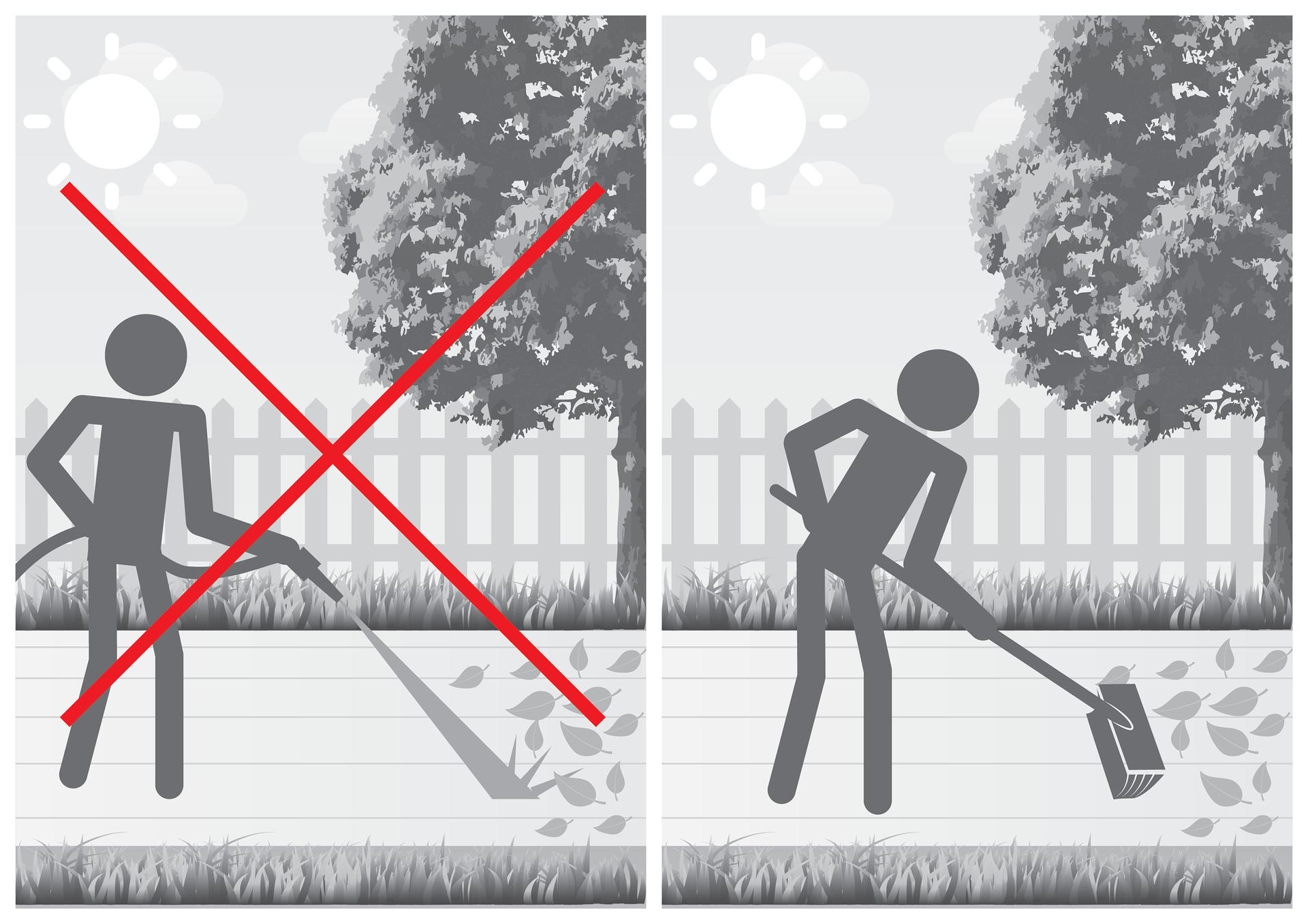 Trzecia ilustracja wgalerii. Przedstawia podwójny czarno biały rysunek przydomowego ogrodu zdrzewem po prawej stronie ipodjazdem lub chodnikiem. Symbolicznie przedstawiona sylwetka człowieka sprzątającego opadnięte liście zpodjazdu lub chodnika. Wariant po lewej stronie przedstawia usuwanie liści poprzez zmywanie ich wodą zwęża pod ciśnieniem. Rysunek jest przekreślony czerwonym krzyżem. Wariant po prawej stronie przedstawia zamiatanie liści szeroką szczotką.
