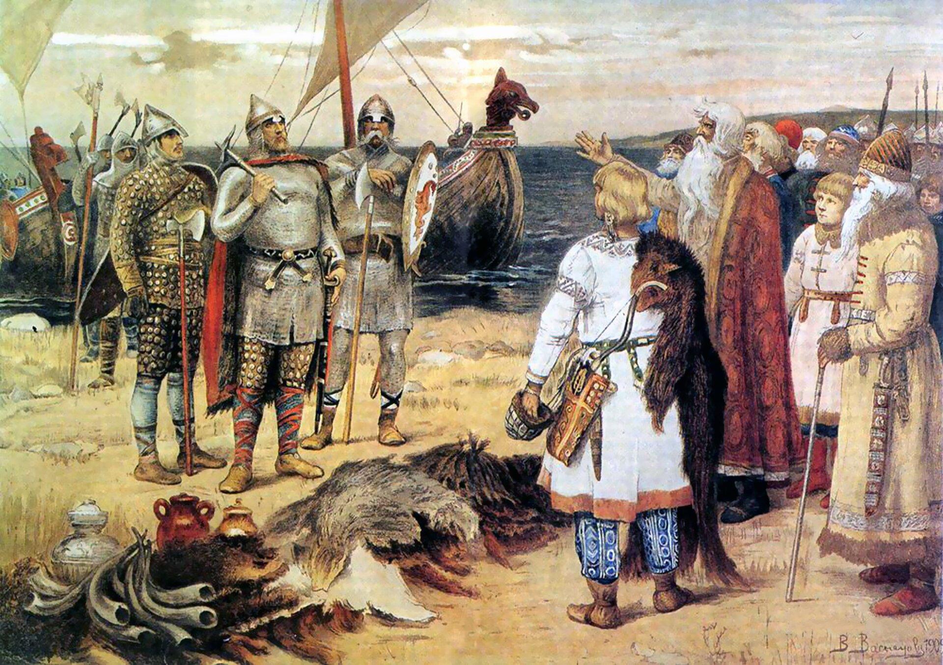 Wikingowie przybywają do osady słowiańskiej Wikingowie przybywają do osady słowiańskiej Źródło: domena publiczna.