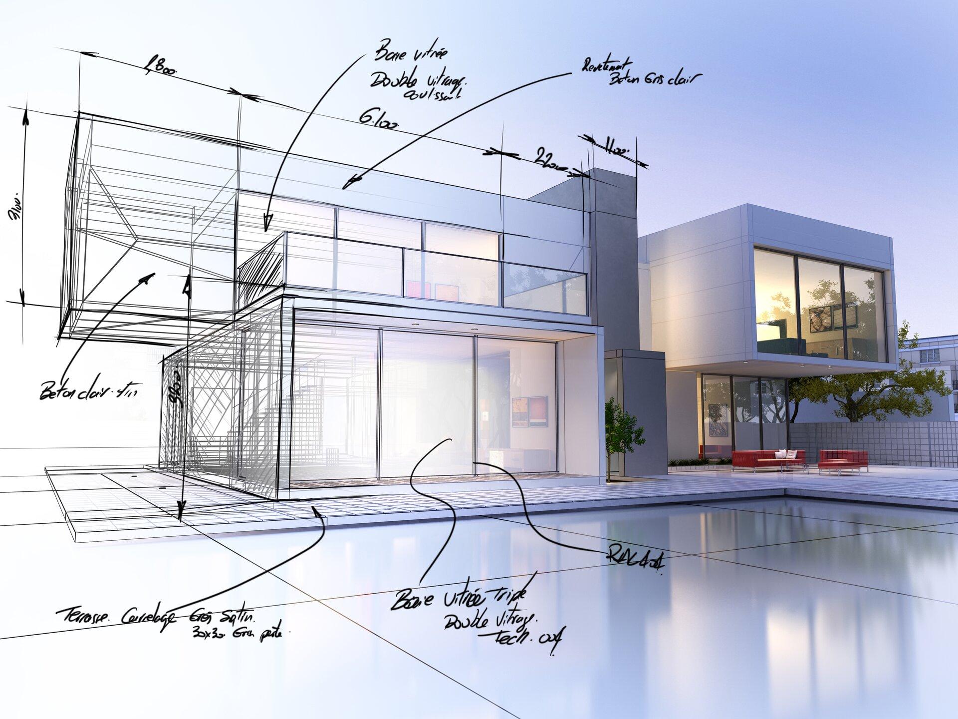 Ilustracja przedstawia rysunek architekta. Widzimy na nim wizualizację domu wraz ztarasem. Część ilustracji jest wformie rysunkowej, natomiast część wformie komputerowej. Na części rysunkowej zaznaczone zostały również wymiary elementów.