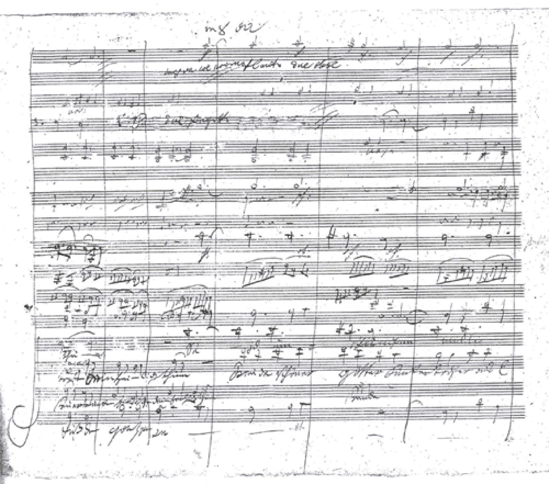 Ilustracja przedstawia rękopis IX symfonii d-moll op. 125 napisanych przez Ludwiga van Beethovena.