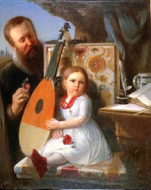 Obraz przedstawiający brodatego mężczyznę, który stoi obok krzesła, na którym siedzi ubrana na biało mała dziewczynka trzymające wprawej ręce kwiat maku. Dziewczynka ma na szyi czerwone korale. Krzesło obite jest materiałem wkwiaty. Obok dziewczynki na krześle stoi lutnia. Obok krzesła, na stole leżą kartki papieru, pojemnik zatramentem ipióro do pisania.