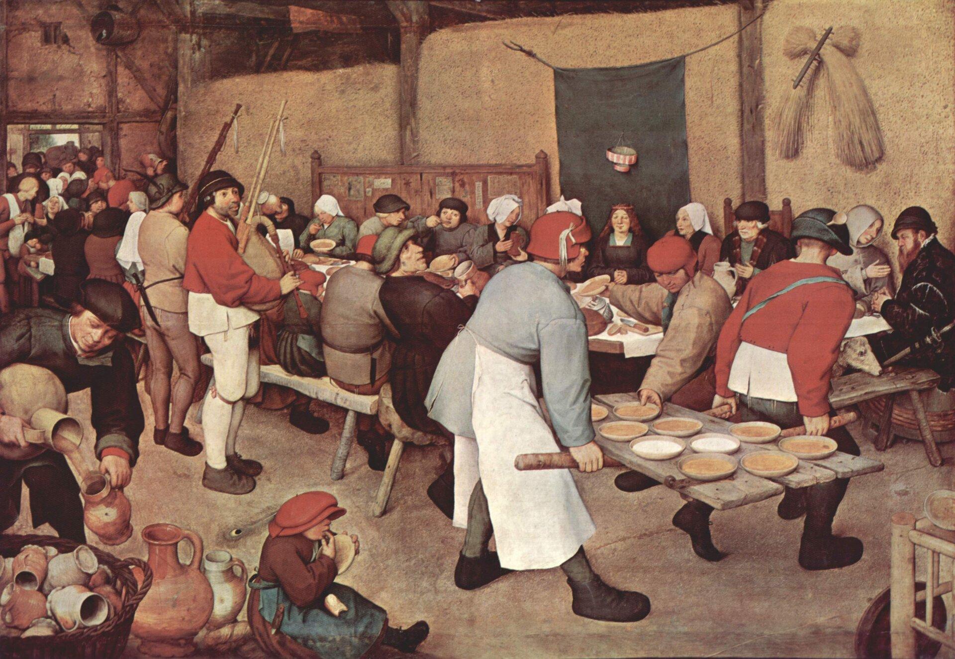 Wesele Wiejskie Źródło: Pieter Bruegel starszy, Wesele Wiejskie, 1568, olej na desce, Kunsthistorisches Museum, Wiedeń, domena publiczna.