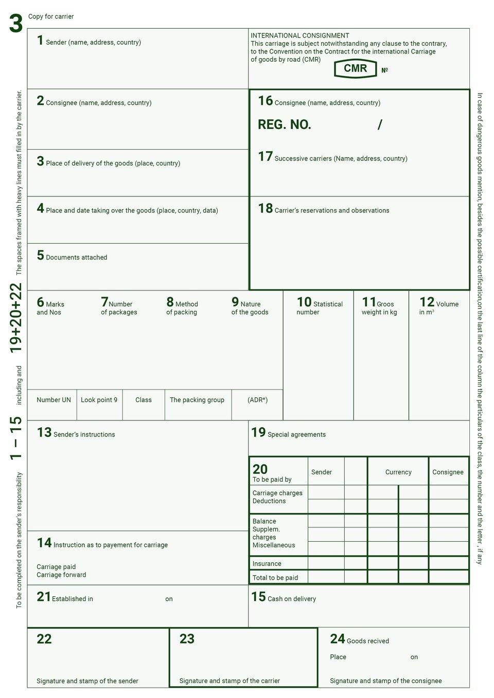 The document shows the CMR waybill that is used in international road transport. Dokument przedstawia list przewozowy CMR, który używany jest wmiędzynarodowym transporcie drogowym.