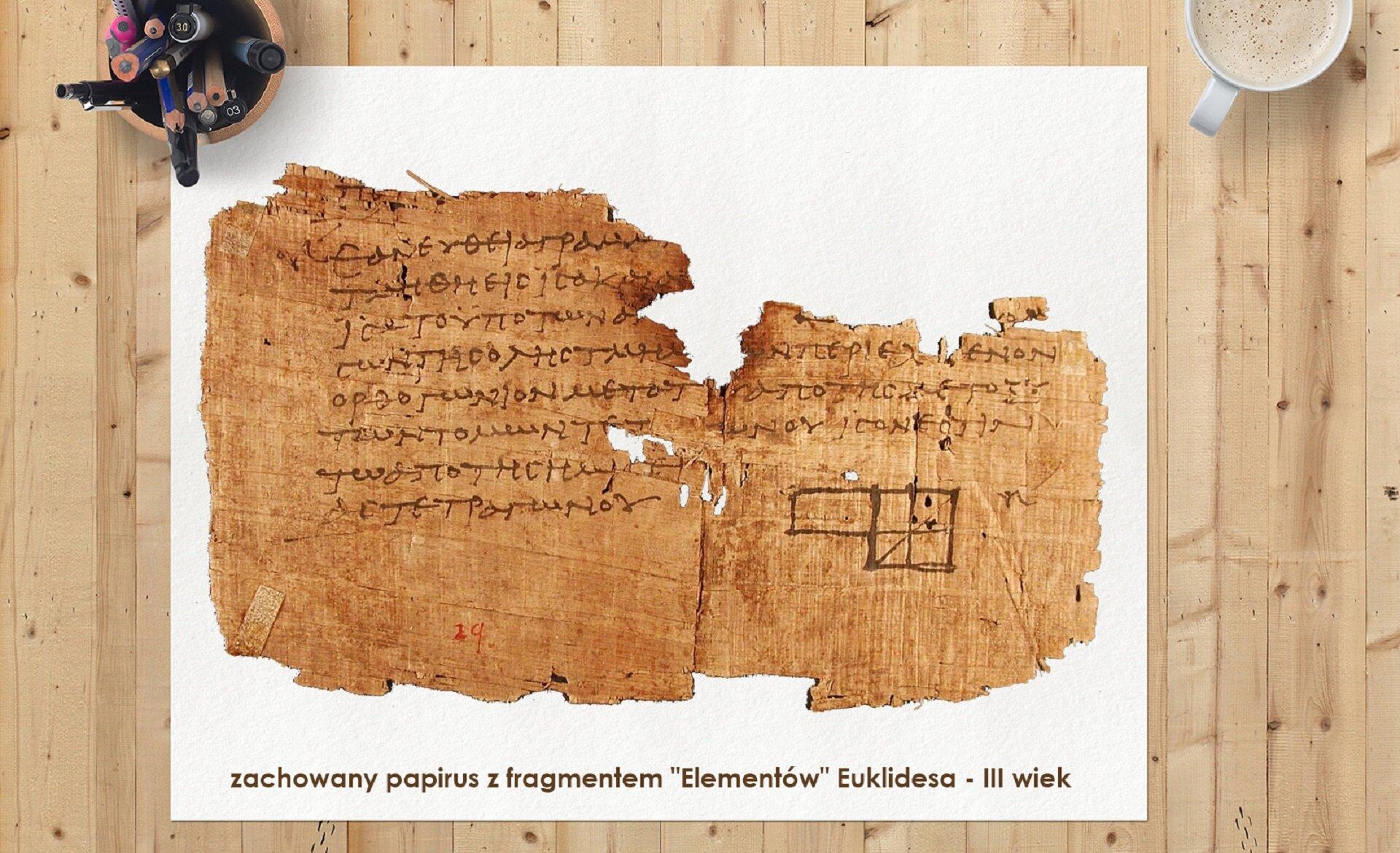 """Ilustracja przedstawia sfotografowaną zgóry drewnianą płaszczyznę wykonaną zjasnych desek. Na deskach leży biały arkusz. Na nim leży fragment wystrzępionego papirusu. Papirus pokryty jest pismem greckim. Udołu tekstu widać rysunki czworoboków. Na dole białego arkusza widnieje napis informujący czym jest pokazany papirus : """"zachowany papirus zfragmentem """"Elementów"""" Euklidesa – III wiek"""" Lewy górny róg białego arkusza dociśnięty jest do blatu kubkiem, wktórym znajdują się kolorowe kredki, długopisy ipisaki. Wprawym górnym rogu widać fragment filiżanki zkawą."""
