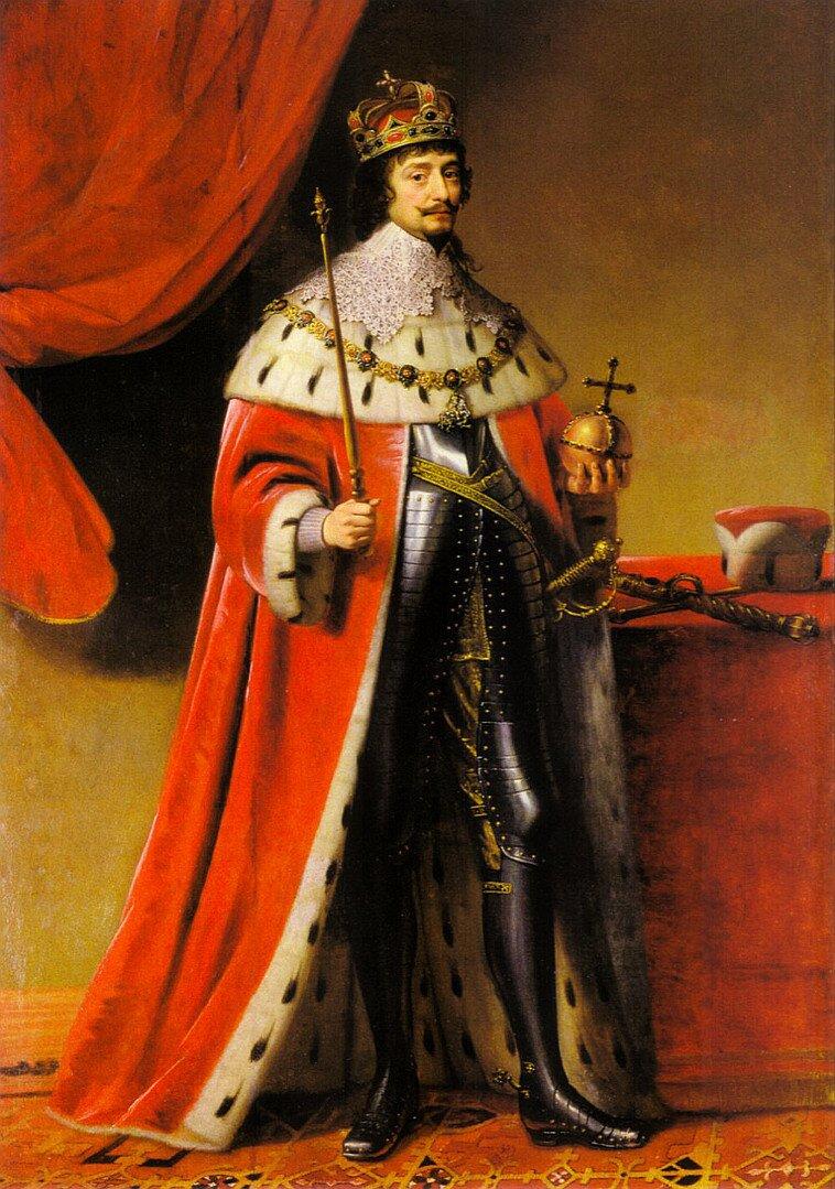"""Portret Fryderyka V, Elektora Palatynatu (1596-1632), jako króla Czech Król Czech, Fryderyk IWittelsbach, zwany """"królem zimowym"""" - panował tylkonieco ponad rok (określenie zima było teżużywane jako miara upływu czasu) - iwhistorii znany jest bardziej pod tym przezwiskiem. Obalony po przegranej bitwie pod Białą Górą w1620 roku. Miarą jego zdolności przywódczych jest fakt, żenie zdążył na pole bitwy, zatrzymany na Hradczanach przez obiad wydany na cześć angielskiego ambasadora. Źródło: Gerrit van Honthorst, Portret Fryderyka V, Elektora Palatynatu (1596-1632), jako króla Czech, olej na płótnie, domena publiczna."""