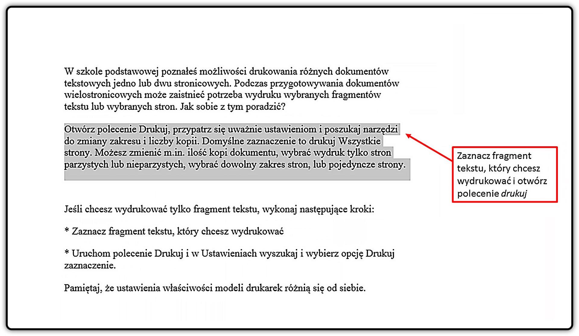 Slajd 1 galerii: Drukowanie fragmentu dokumentu wprogramie MS Word