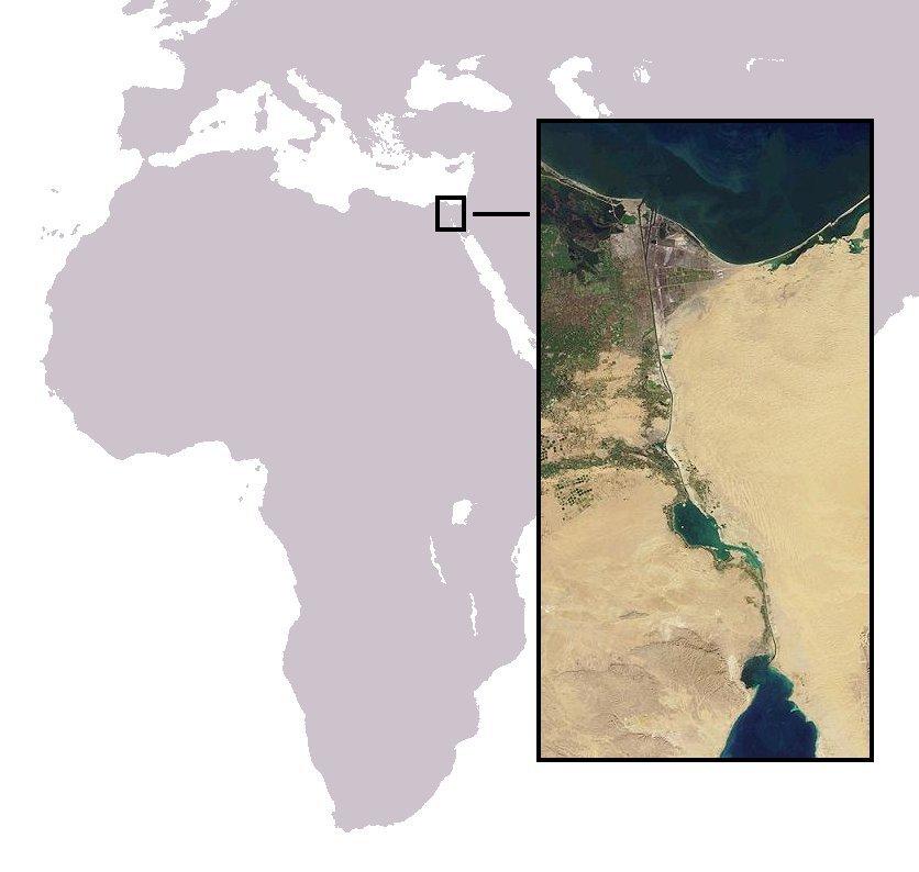 Zdjęcie satelitarne Kanału Sueskiego Zdjęcie satelitarne Kanału Sueskiego Źródło: Wikimedia Commons, licencja: CC BY 2.5.
