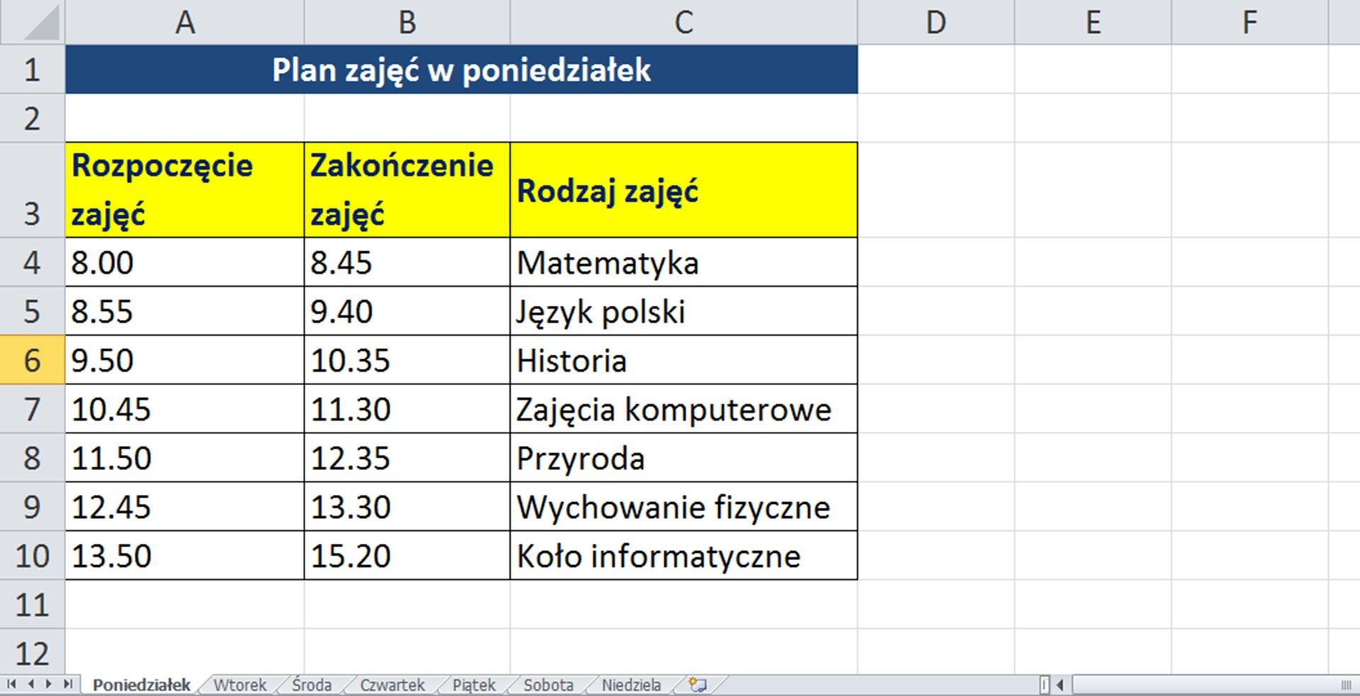 Zrzut arkusza zprzykładową sformarowaną tabelą