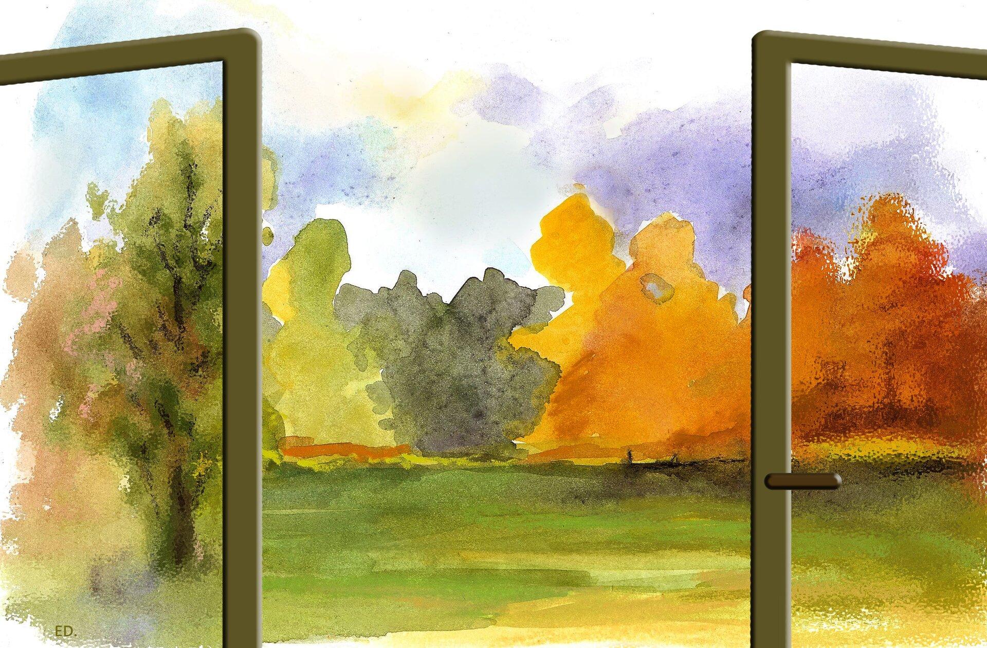 Ilustracja przedstawiająca widok zokna