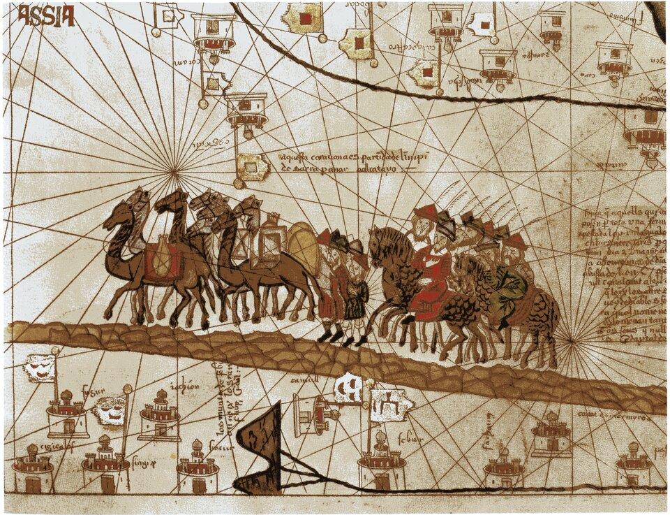 Obraz przedstawia wyobrażenie podróży Marco Polo karawaną przez Azję