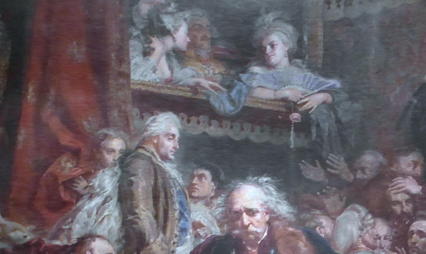 Fragment obrazu przedstawiający króla Stanisława II Augusta, anad nim wloży Nikolaja Repnina idwie damy, Izabelę Lubomirską iIzabelę Czartoryską. Fragment obrazu przedstawiający króla Stanisława II Augusta, anad nim wloży Nikolaja Repnina idwie damy, Izabelę Lubomirską iIzabelę Czartoryską.