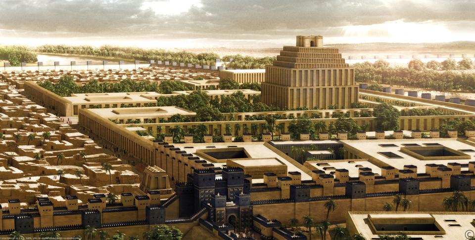 Widok zabudowań wysokiej świątyni otoczonej niskimi budynkami. Zabudowania świątyni otoczone są murem, poza którym stoją domy.