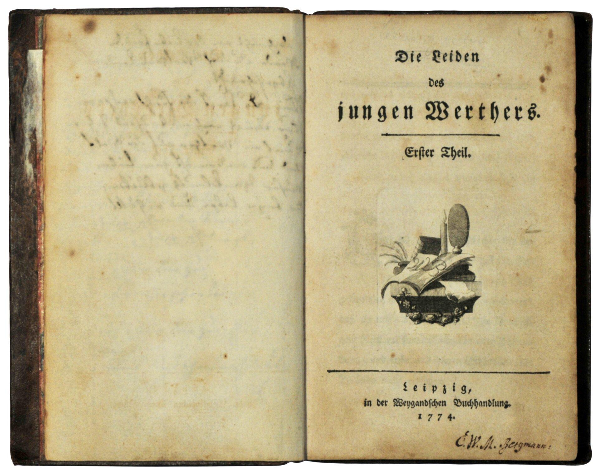 Pierwsze wydanie Cierpień młodego Wertera z1774 roku Pierwsze wydanie Cierpień młodego Wertera z1774 roku Źródło: P.Haack (fot.), skan, licencja: CC BY-SA 3.0.