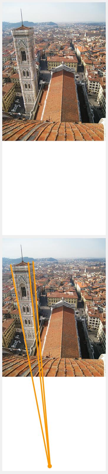 """Ilustracja interaktywna przedstawia fotografię dzwonnicy Giotta. Zdjęcie zrobione jest zlotu ptaka. Przedstawiona jest wieża okwadratowej podstawie zgraniastymi wzmocnieniami wnarożnikach. Elewacje zostały obłożone kolorowymi płytami marmuru okolorze białym iróżowym. Wtle widać panoramę miasta zdużą ilością czerwonych dachów. Wprawym, dolnym rogu, na niebieskim kwadratowym tle znajduje się litera """"i"""" . Odwrócona ilustracja przedstawia tę samą fotografię znaniesionymi pomarańczowymi liniami, poprowadzonymi wzdłuż krawędzi dzwonnicy. Linie łączą się udołu, poza fotografią."""