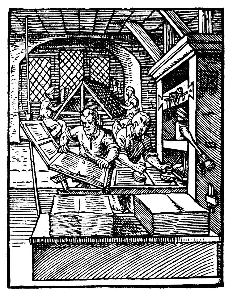 Ilustracja przedstawiająca pierwszych drukarzy
