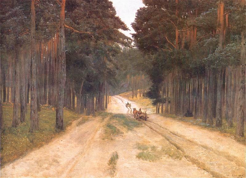 Droga wlesie Źródło: Józef Chełmoński, Droga wlesie, 1887, olej na płótnie, Muzeum Narodowe, Kraków, domena publiczna.