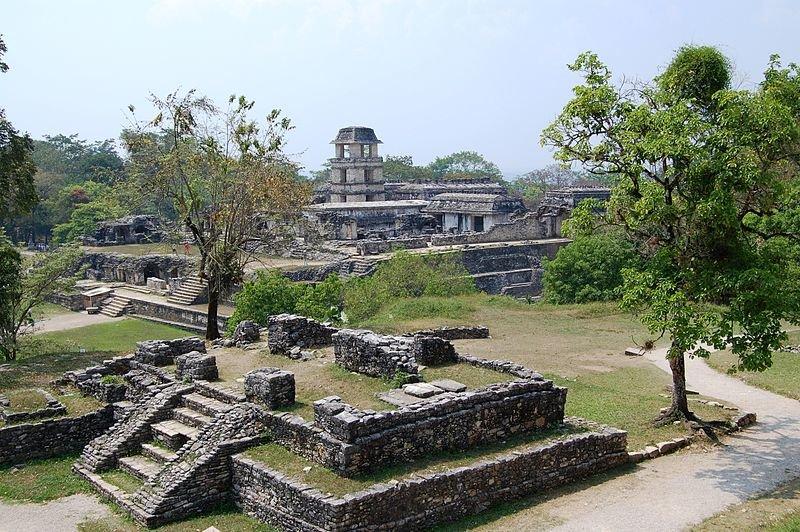 zdjęcie przedstawia światynię Majów wmieście Palenque