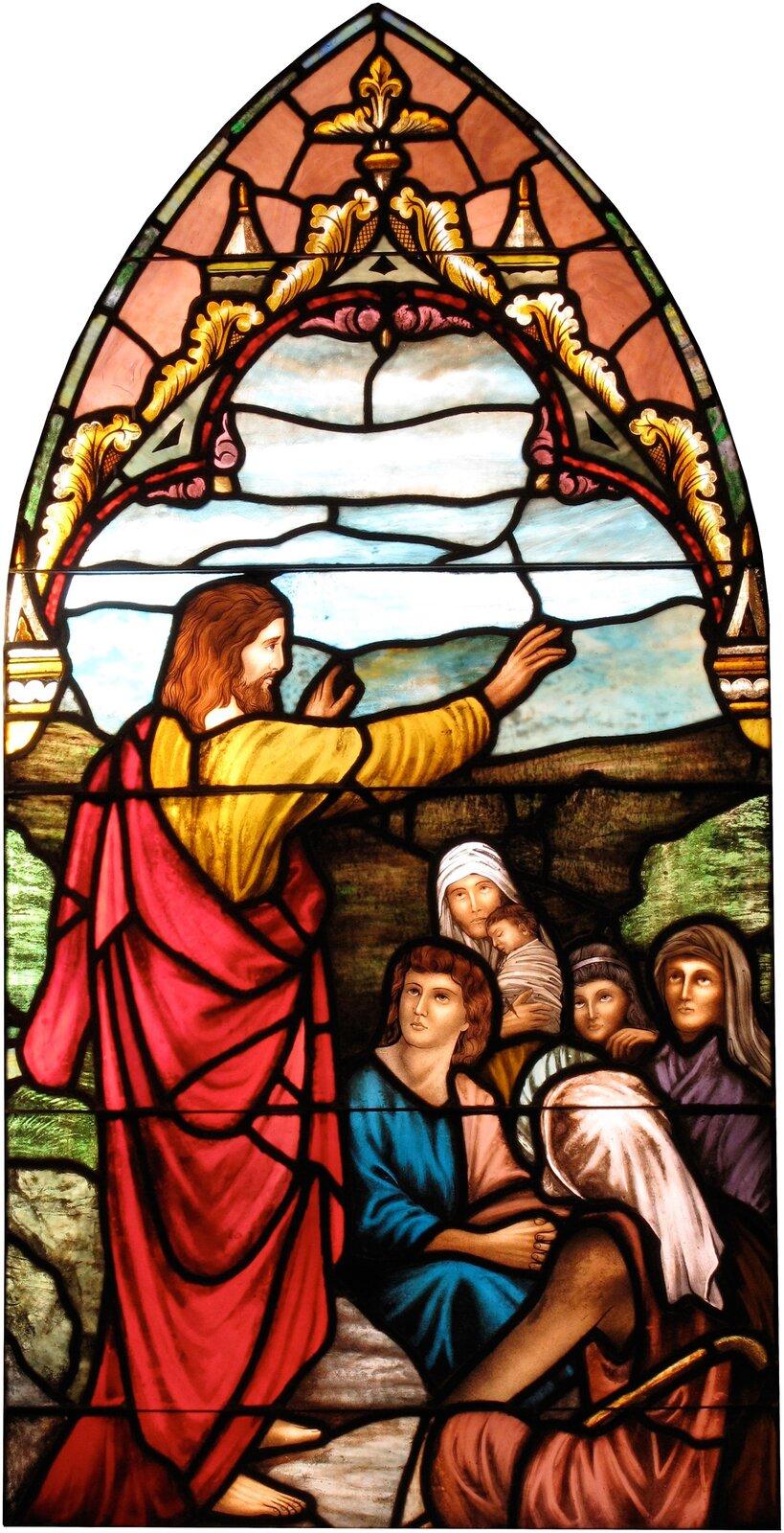 Witraż przedstawiający nauczanie Jezusa. Pierwszymi uczniami Jezusa było dwunastu apostołów Witraż przedstawiający nauczanie Jezusa. Pierwszymi uczniami Jezusa było dwunastu apostołów Źródło: Cadetgray, Wikimedia Commons, licencja: CC BY-SA 3.0.