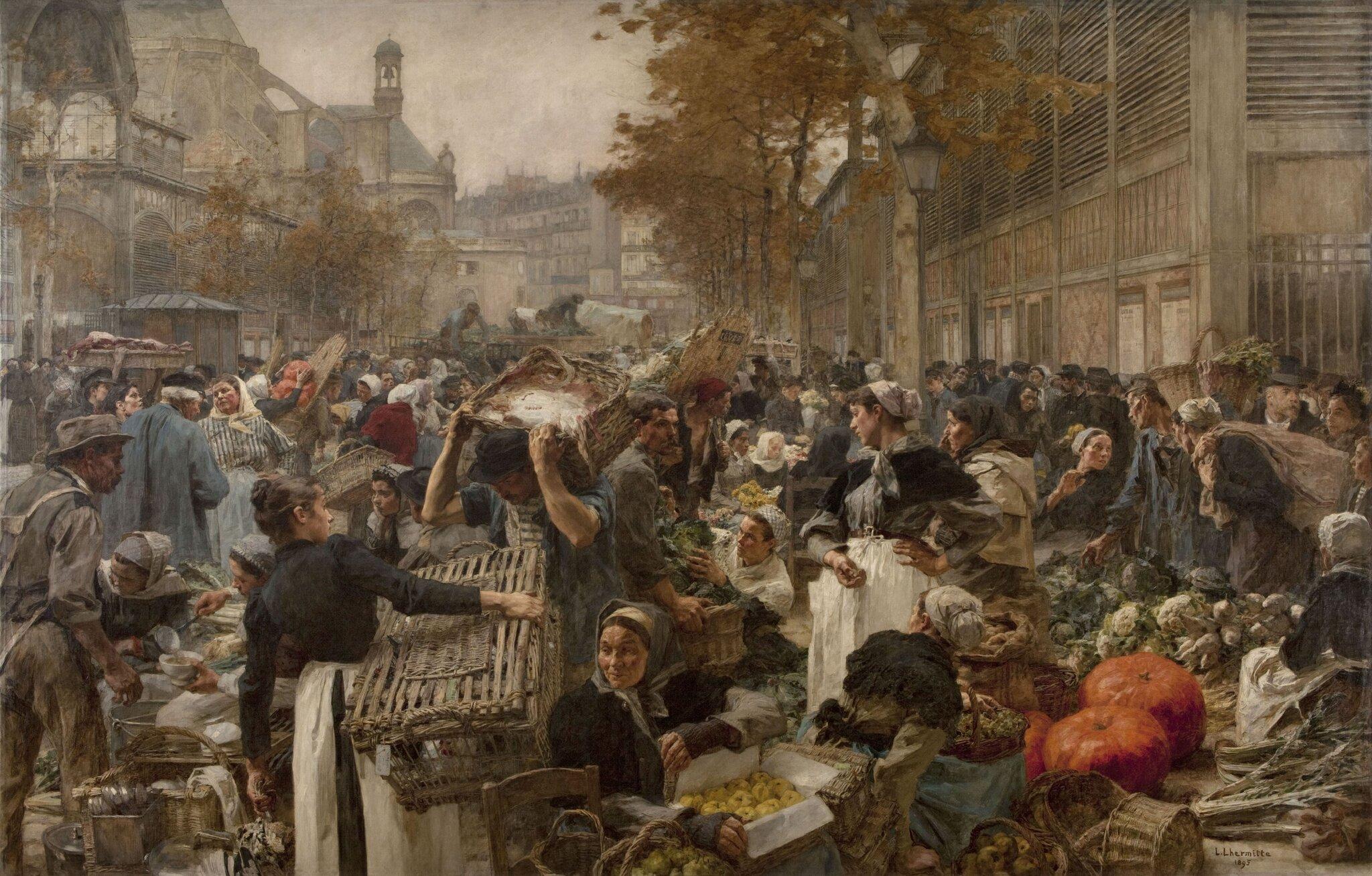 Les Halles Targ wParyżu wdrugiej połowie XIX wieku Źródło: Léon Lhermitte (1844–1925; czyt.: leon lermit; francuski malarz), Les Halles, domena publiczna.