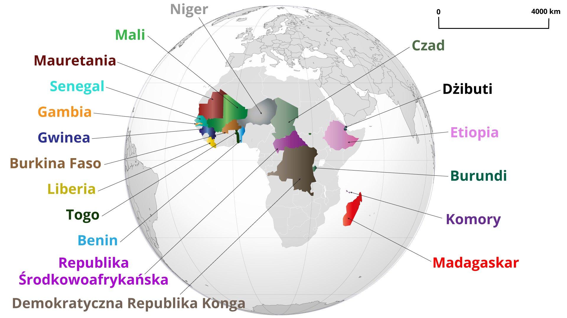 Państwa afrykańskie otrzymujące Oficjalną Pomoc Rozwojową od Francji w2018 r.