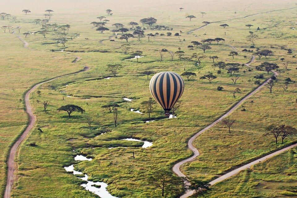 Na zdjęciu rozległe tereny zielone, pojedyncze drzewa, drogi, zbiorniki wodne, nad nimi leci balon.
